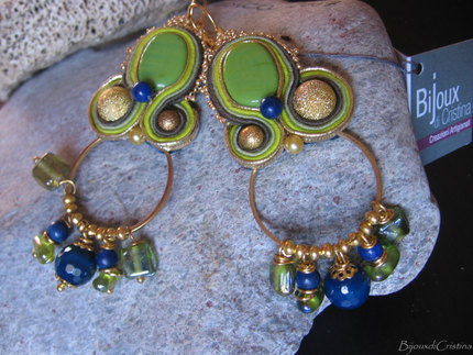 """Green Meadows"" Ceramic Soutache Earrings - Handmade in Italy"