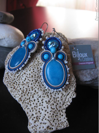 Handmade Italian Blue Swarovski Soutache Earrings