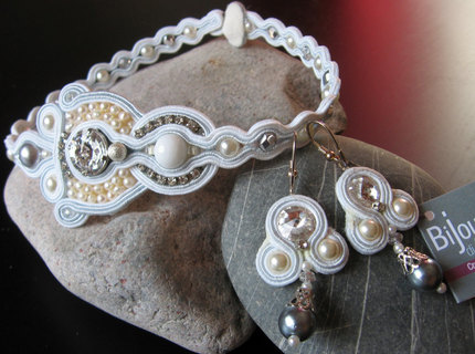 Handmade Italian Bridal Soutache Jewelry Set with Swarovski, 925 Sterling, and Fresh Water Pearls