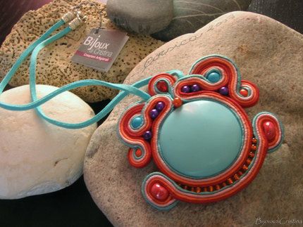 """Turquoise"" Soutache Choker Necklace"
