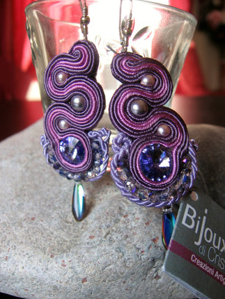 """Purple Night"" Handmade Italian Earrings (Soutache)"