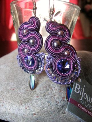 """""""Purple Night"""" Handmade Italian Earrings (Soutache)"""