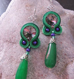 Handmade Italian Soutache Earrings with Swarovski Crystals and Green Stones