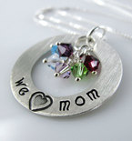 "We Love Mom Necklace -  1"" Hand Stamped Personalized Sterling Silver Donut, Swarovski Birthstone Crystals"