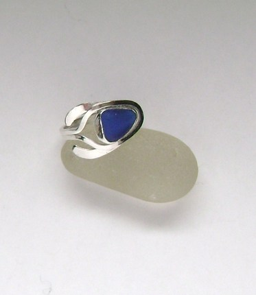 Sea Glass Jewelry - Sterling Cobalt Blue Sea Glass Adjustable Ring