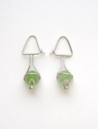 Sea Glass Jewelry - Sterling Green Sea Glass Marble Earrings