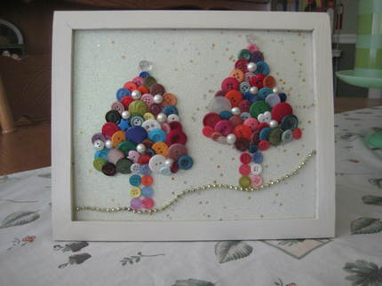 Darling Duo Framed Button Christmas Tree Art