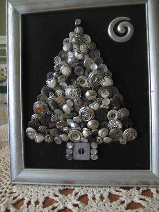 Silvery Button Christmas Tree Art