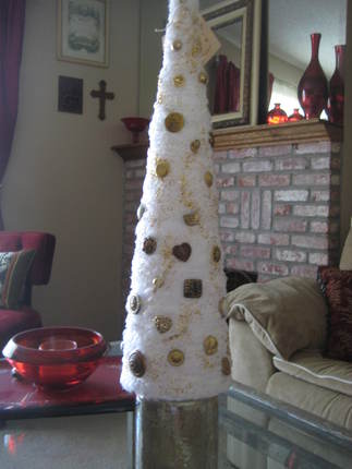 Shabby Elegant Gold Button Christmas Tree Decoration