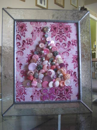 Shabby Pink Button Art Christmas Tree