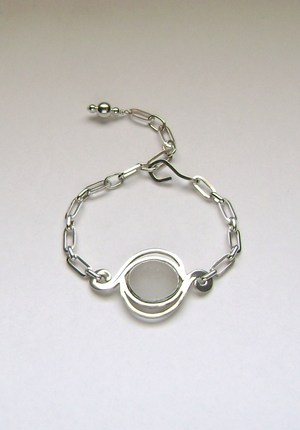 Sea Glass Jewelry - Sterling White English Sea Glass Bracelet