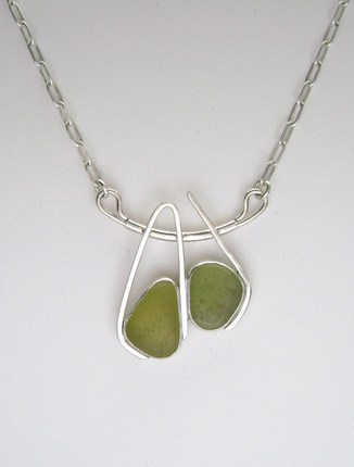 Sea Glass Jewelry - Sterling Olive Green Sea Glass Necklace