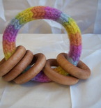 Baby Rattle, Felted Wool, Wooden Rings, Planted Dyed, Rainbow, Pastel, All Natural Toy, Waldorf Toy, Eco Friendly Toy, Baby Toy