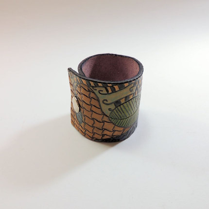 DoodleCuff, ZIA Leather Cuff, Zentangle Style Cuff, Tooled Leather Bracelet
