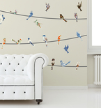 China Plate Birds on a Wire Vinyl Wall Decals