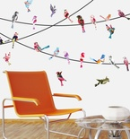Watercolor Birds on a Wire Vinyl Wall Decals