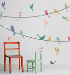 Paisley Birds on a Wire Vinyl Wall Decals