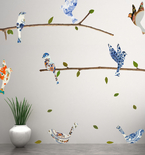 China Plate Birds & Branches Vinyl Wall Decals