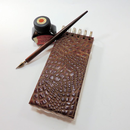 Cowligator Spiral Bound Notebook, Faux Alligator Notebook, Leather Notepad