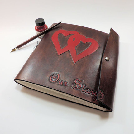 Wedding Guest Book, Honeymoon Scrapbook, Leather Book of Wishes