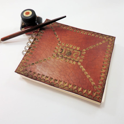 Medieval Style Leather Notebook, Hand Tooled Leather Spiral Notebook