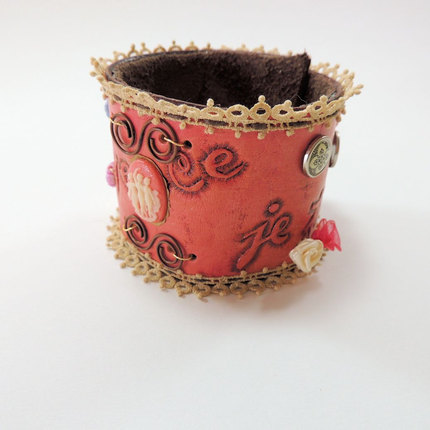 Hand tooled Leather Cuff, Pink Leather and Vintage Lace Cuff, French Floral Cuff, Boho Cuff