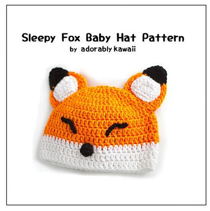 Sleepy Fox Baby Hat - PDF Crochet Pattern