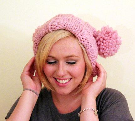 Knit Bridget Jones Double Pom Pom Adult Hat - Blossom Pink