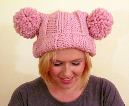 Knit Bridget Jones Double Pom Pom Adult Hat - Blossom Pink ... cbb57b26e7b
