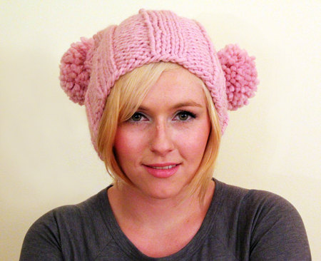 Knit Bridget Jones Double Pom Pom Adult Hat Blossom Pink