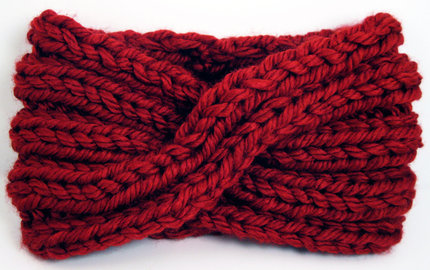 Chunky Knit Turban Headband Earwarmer - Deep Red