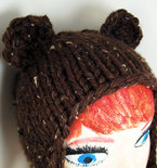 Adult-Size Knit Bear Earflap Hat - Marbled Brown