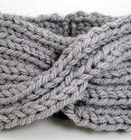 Chunky Knit Turban Headband Earwarmer - Light Grey