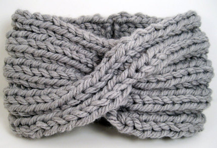 Chunky Knit Turban Headband Earwarmer - Light Grey
