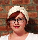 Chunky Knit Turban Headband Earwarmer - Cream