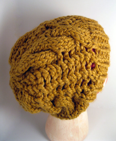 Knit Slouchy Open Weave Cable Beanie - Mustard Yellow - Rachels Knit Kna...