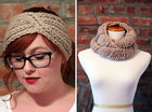 Gift Set - Chunky Knit Turban Headband Earwarmer and Infinity Scarf - Beige