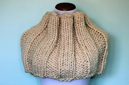 Hand Knit Extra Thick Infinity Scarf Cowl  - Cream