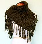 Hand Knit Extra Large Triangle Fringe Scarf Shawl - Olive Green