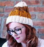 Knit Striped Cable Beanie Hat - Cream, Golden Orange, and Golden Brown