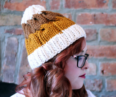 Knit Striped Cable Beanie Hat Cream Golden Orange And