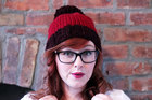 Knit Two-toned Oversized Pom Pom Beanie Hat - Claret and Deep Red