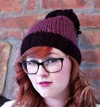 Knit Two-toned Oversized Pom Pom Beanie Hat - Deep Purple and Fig Purple