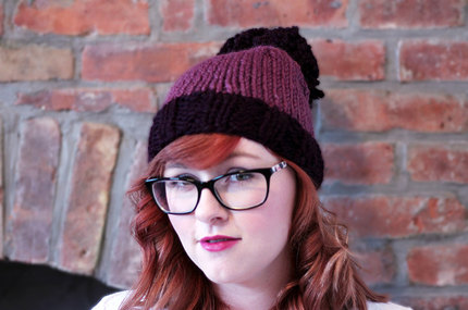 Knit Two-toned Oversized Pom Pom Beanie Hat - Deep Purple and Fig Purple