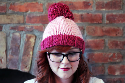 Knit Two-toned Oversized Pom Pom Beanie Hat - Raspberry and Blossom Pink