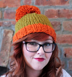 Knit Two-toned Oversized Pom Pom Beanie Hat - Orange and Golden Green