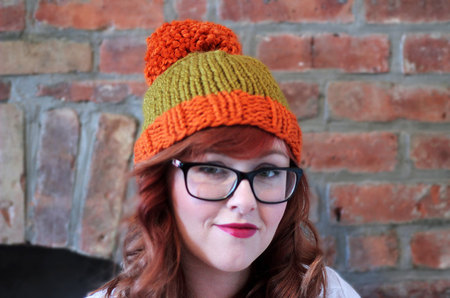 262576a60b1 Knit Two-toned Oversized Pom Pom Beanie Hat - Orange and Golden Green