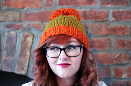 38abe65631a Knit Two-toned Oversized Pom Pom Beanie Hat - Orange and Golden ...