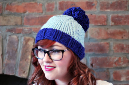 Knit Two-toned Oversized Pom Pom Beanie Hat - Cobalt and Icy Blue