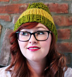 Knit Two-toned Oversized Pom Pom Beanie Hat - Pea Green and Deep Yellow